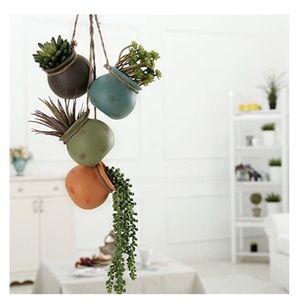 Boho Hanging Mini Ceramic Succulent Pots Minimal
